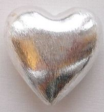 Silver Plated  Beads 25mm Puffed Heart - 1
